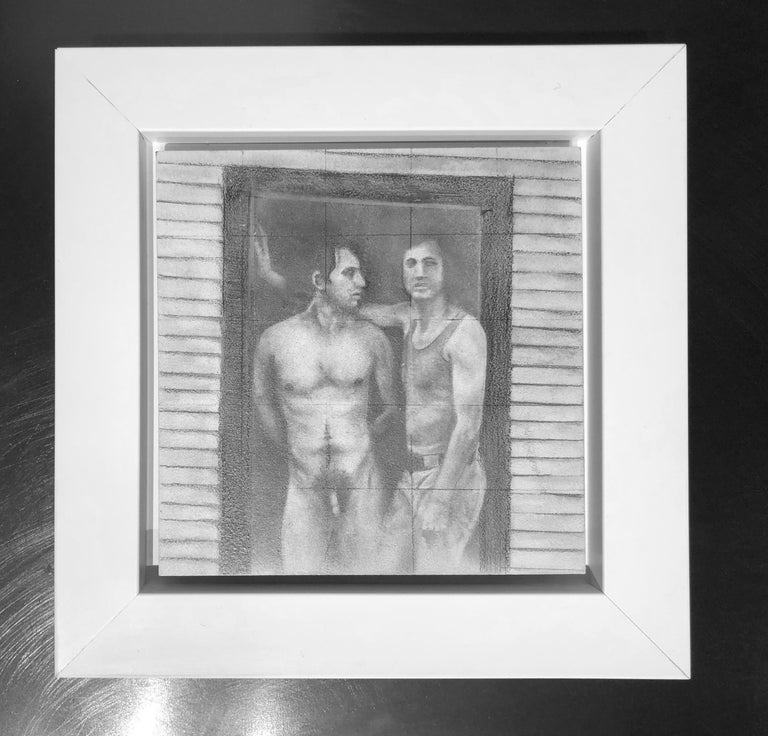 Daniel #1 - Two Male Figures, One Nude in Doorway, Original Graphite Drawing - Art by Rick Sindt