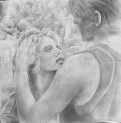 Untitled #6 - Original Graphite Drawing on Panel, Two Figures in Intimate Moment