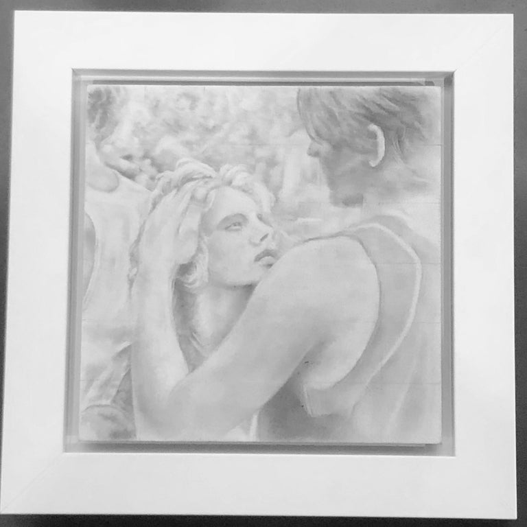 Untitled #6 - Original Graphite Drawing on Panel, Two Figures in Intimate Moment - Art by Rick Sindt