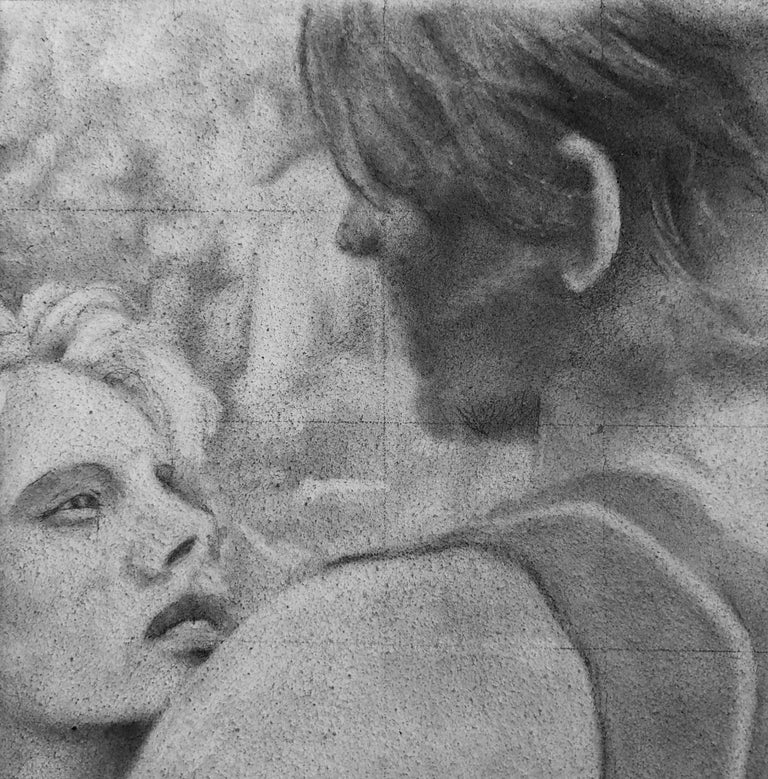 Untitled #6 - Original Graphite Drawing on Panel, Two Figures in Intimate Moment - Contemporary Art by Rick Sindt