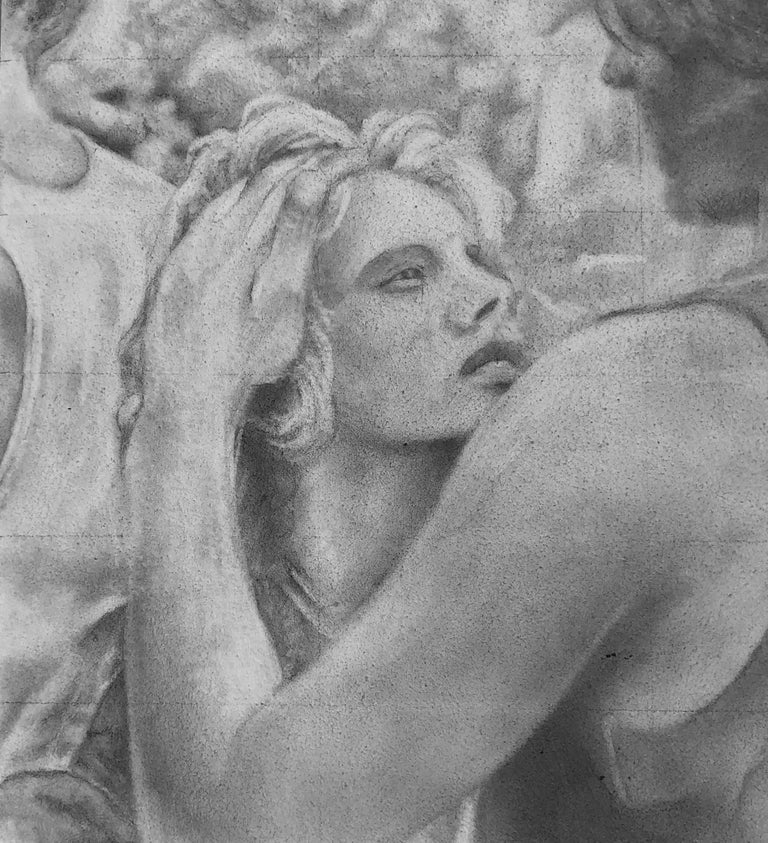 Untitled #6 - Original Graphite Drawing on Panel, Two Figures in Intimate Moment - Gray Figurative Art by Rick Sindt