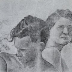 Reticent - Original Graphite Drawing on Panel, Two People at the Beach Circa '50