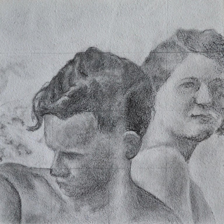Rick Sindt Figurative Art - Reticent - Original Graphite Drawing on Panel, Two People at the Beach Circa '50