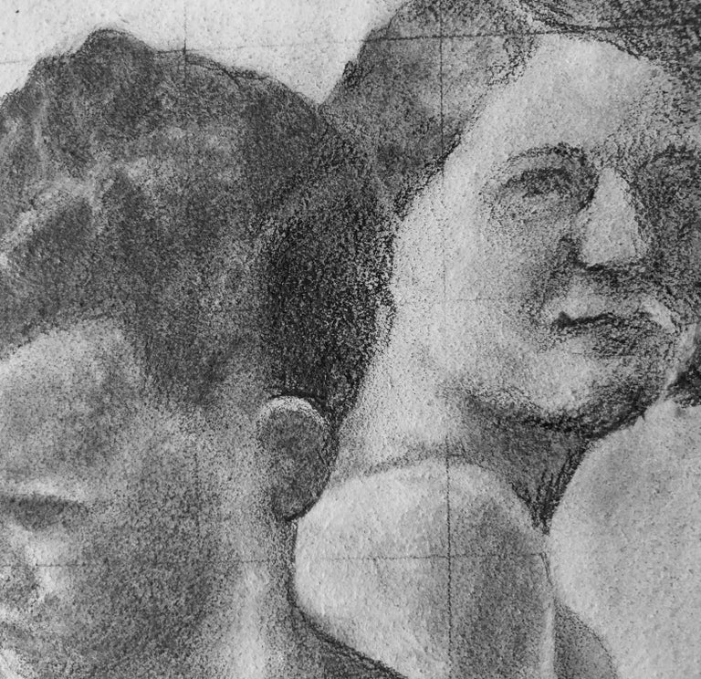 Reticent - Original Graphite Drawing on Panel, Two People at the Beach Circa '50 - Contemporary Art by Rick Sindt