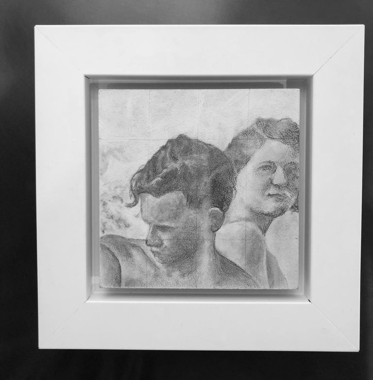 Reticent - Original Graphite Drawing on Panel, Two People at the Beach Circa '50 - Art by Rick Sindt