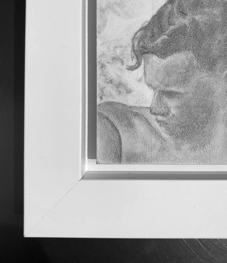Reticent - Original Graphite Drawing on Panel, Two People at the Beach Circa '50 - Gray Figurative Art by Rick Sindt