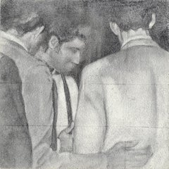 Testimony - Original Black and White Graphite Drawing, Group of Men in Suits