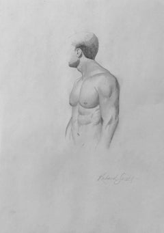 Untitled #8 - Original Graphite Drawing on Paper, Muscular Male Nude Torso
