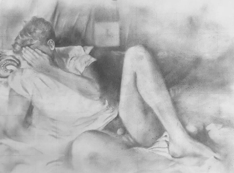 """""""Hesitant"""", a work by Rick Sindt, is a small graphite drawing on panel of a nude male figure with his face covered.  Graphite is used to make this drawing seem to be a worn out photograph.  The graph lines the artist uses to begin the drawing are"""