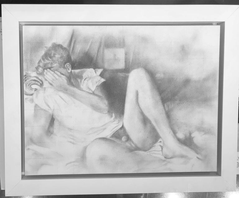 Hesitant - Lying Male Nude Figure, Original Graphite on Panel Drawing For Sale 3