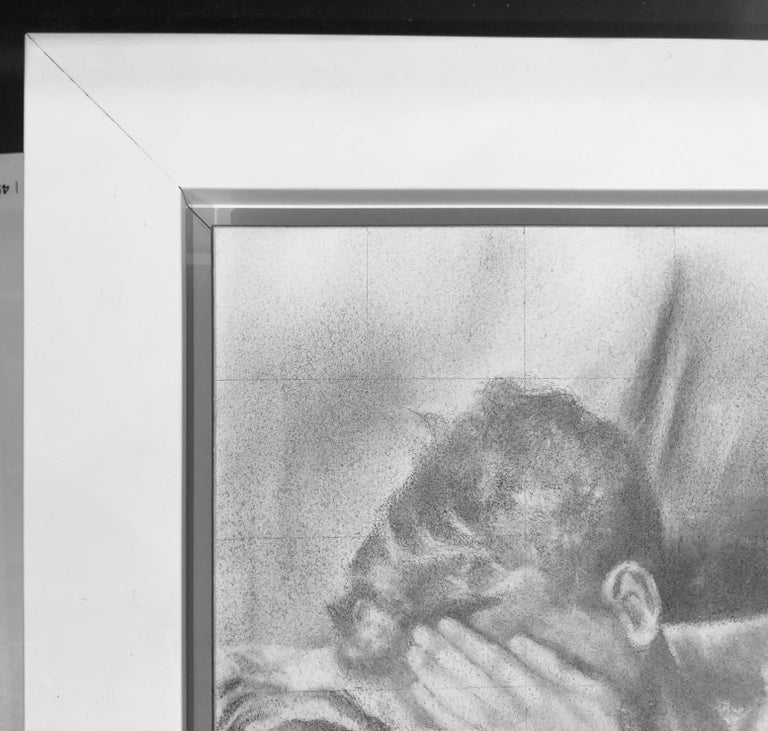 Hesitant - Lying Male Nude Figure, Original Graphite on Panel Drawing For Sale 2