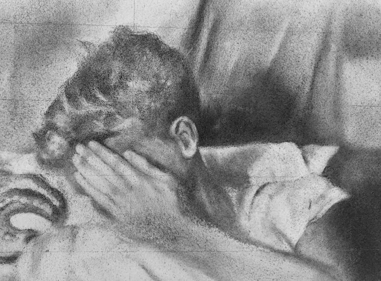 Hesitant - Lying Male Nude Figure, Original Graphite on Panel Drawing For Sale 1