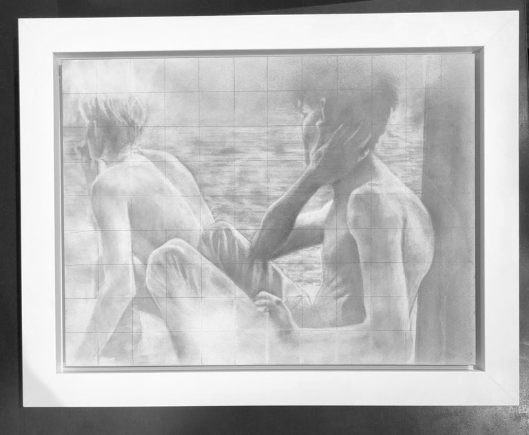 Untitled (Backs) - Two Shirtless Males, Original Graphite Drawing on Panel For Sale 2