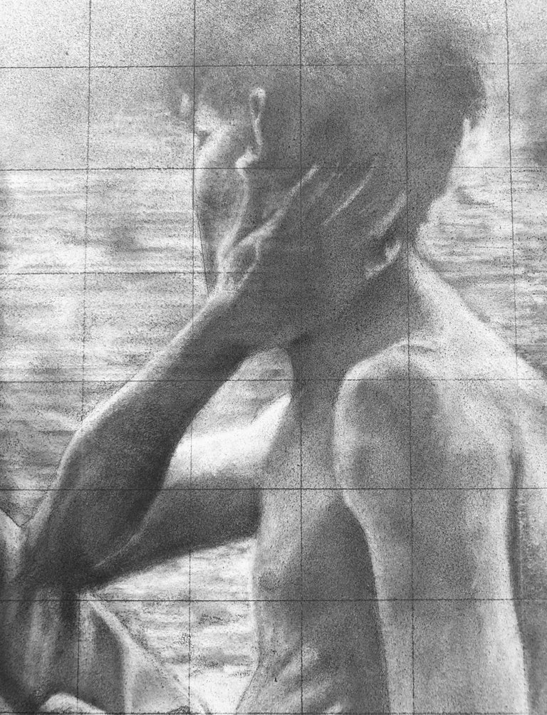 Untitled (Backs) - Two Shirtless Males, Original Graphite Drawing on Panel For Sale 3