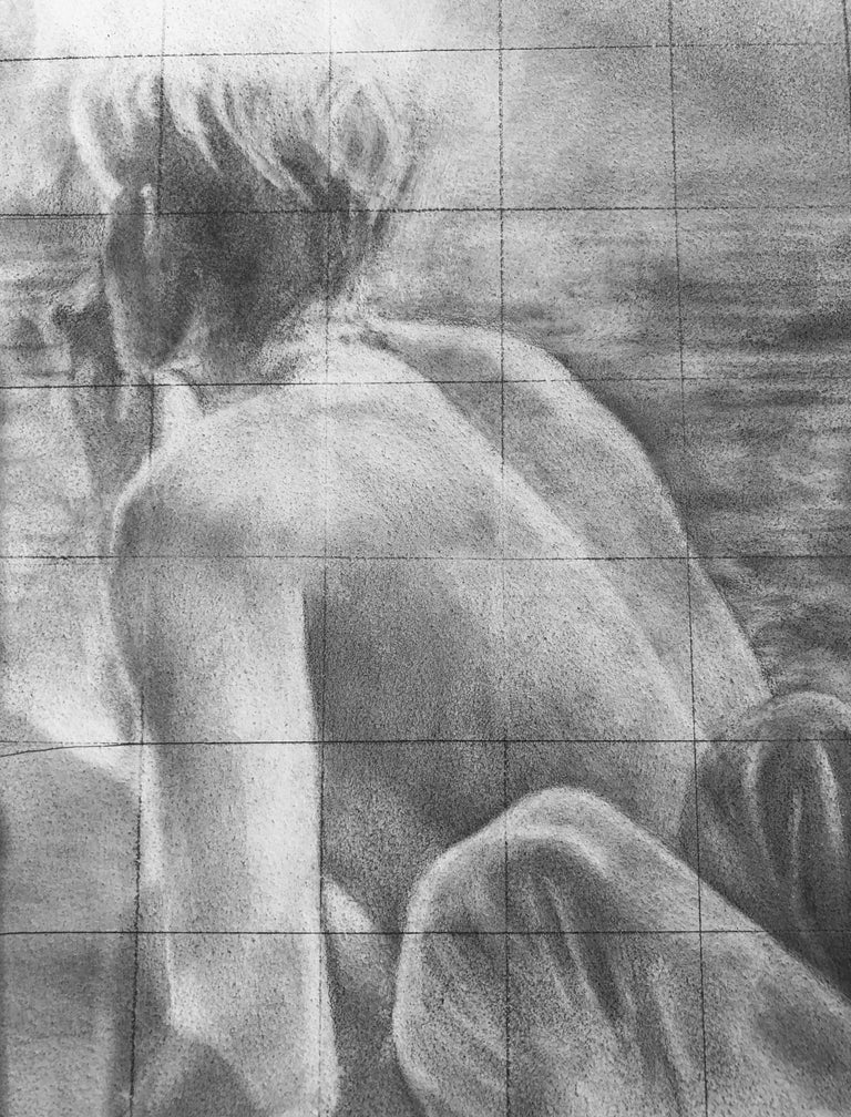 Untitled (Backs) - Two Shirtless Males, Original Graphite Drawing on Panel For Sale 4