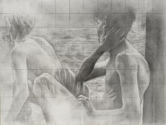 Untitled (Backs) - Two Shirtless Males, Original Graphite Drawing on Panel