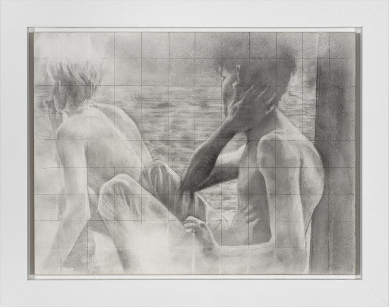 Untitled (Backs) - Two Shirtless Males, Original Graphite Drawing on Panel For Sale 1