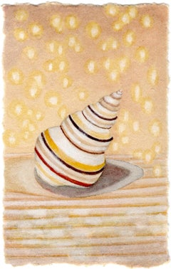 Candy Stripe - Original Painting of a Tiny Red and Yellow Striped Sea Shell