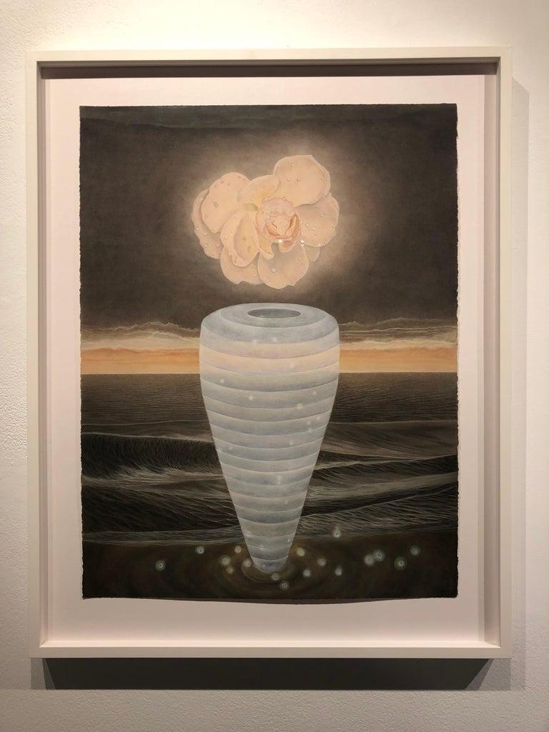 North Sea - Watercolor with Single Peach Colored Bloom, Blue Vase & Wayward Seas For Sale 4