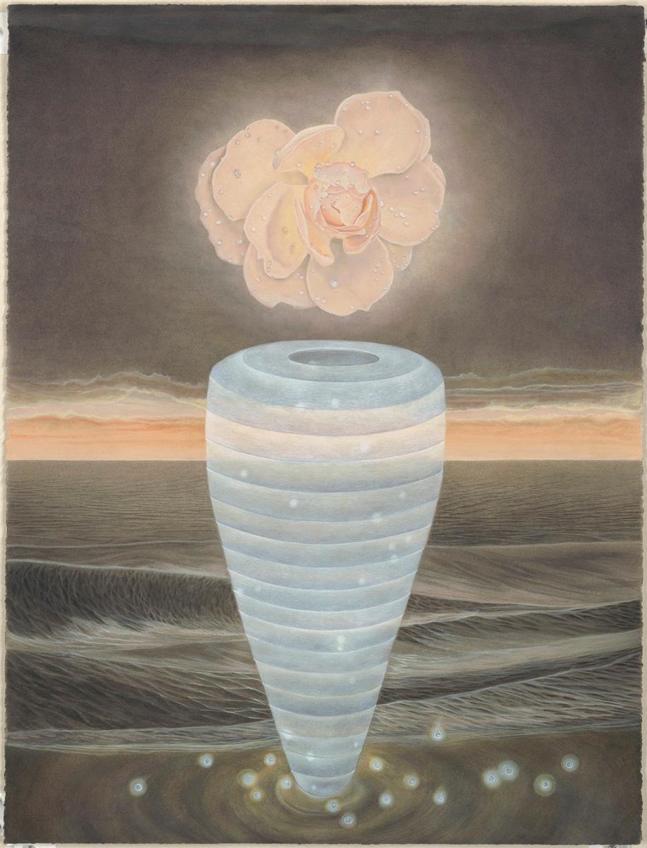 North Sea - Watercolor with Single Peach Colored Bloom, Blue Vase & Wayward Seas
