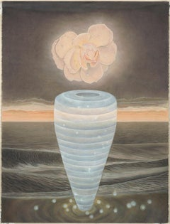 North Sea - Watercolor with Single Peach Colored Bloom, Blue Vase & Wayward Seas