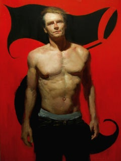 7B - Red Background with Shirtless Male and Black Seven, Oil on Panel Painting