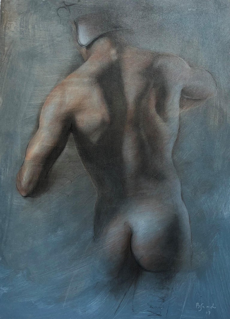 This drawing of a nude male back wearing a helmet  has blue tones with subtle red and white color.  The drawing mixes loose sketch technique with high detail.  This artwork is unframed.  Contact the gallery if you require framing.  Bruno