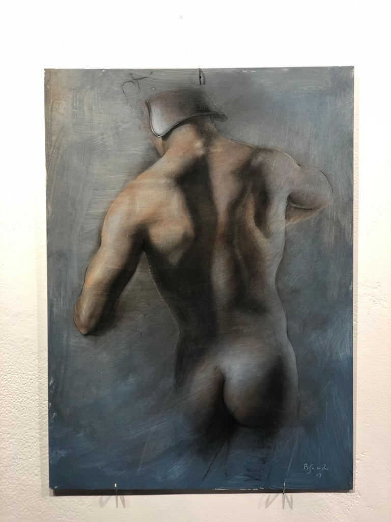 Torso - Male Nude Back Wearing Helmet, Charcoal Drawing on Paper by Bruno Surdo For Sale 1