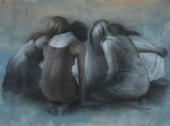 Gatherers - Original Charcoal Drawing of Huddled Women on Paper by Bruno Surdo