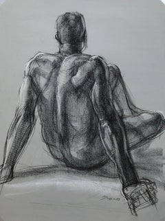 Seated Man's Back, Pastel and Charcoal Drawing  of a Nude Male on Grey Paper