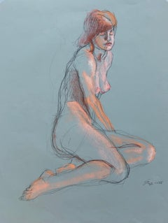 Woman at Rest, Nude Female, Pastel and Charcoal Drawing on Green Paper