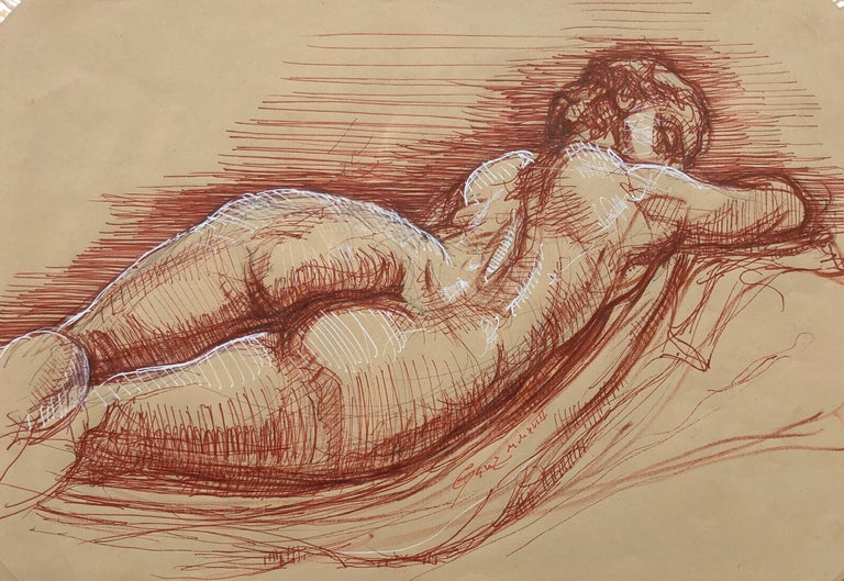 Sleeping Hermaphrodite, Female Nude, Pen Drawing after a Roman Sculpture - Art by Christopher Ganz