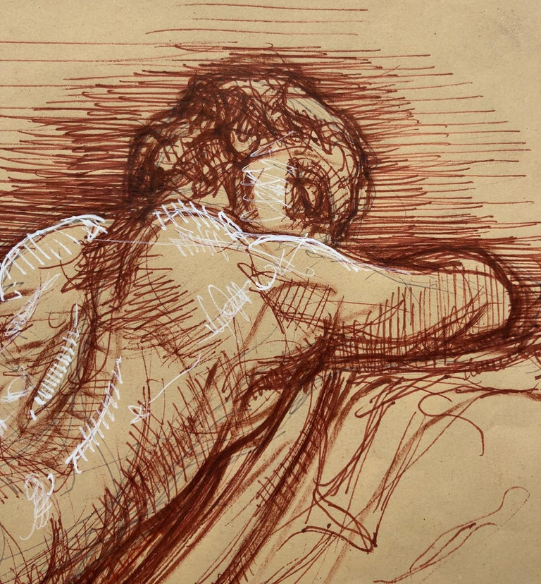 Sleeping Hermaphrodite, Female Nude, Pen Drawing after a Roman Sculpture - Contemporary Art by Christopher Ganz