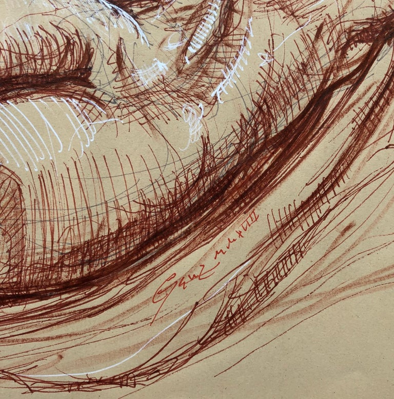 Sleeping Hermaphrodite, Female Nude, Pen Drawing after a Roman Sculpture - Brown Figurative Art by Christopher Ganz