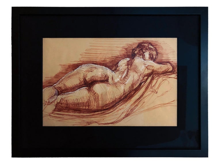 Christopher Ganz Figurative Art - Sleeping Hermaphrodite, Female Nude, Pen Drawing after a Roman Sculpture