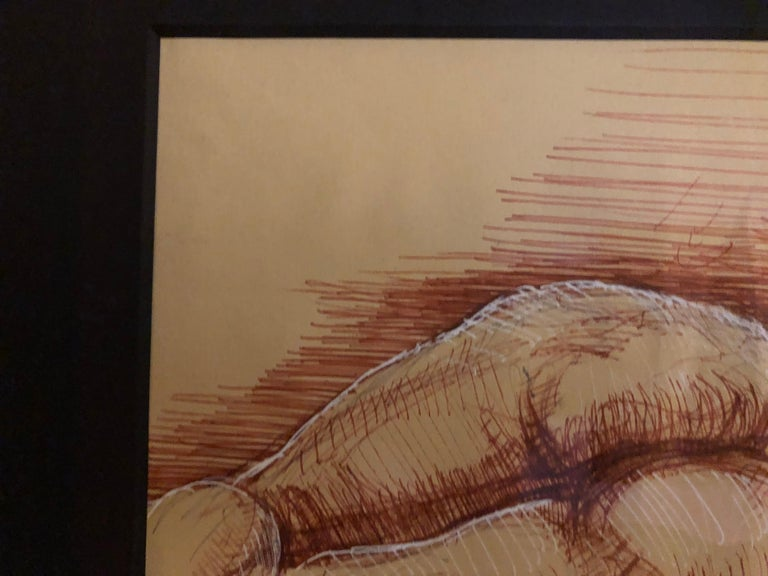Sleeping Hermaphrodite, Female Nude, Pen Drawing after a Roman Sculpture For Sale 1
