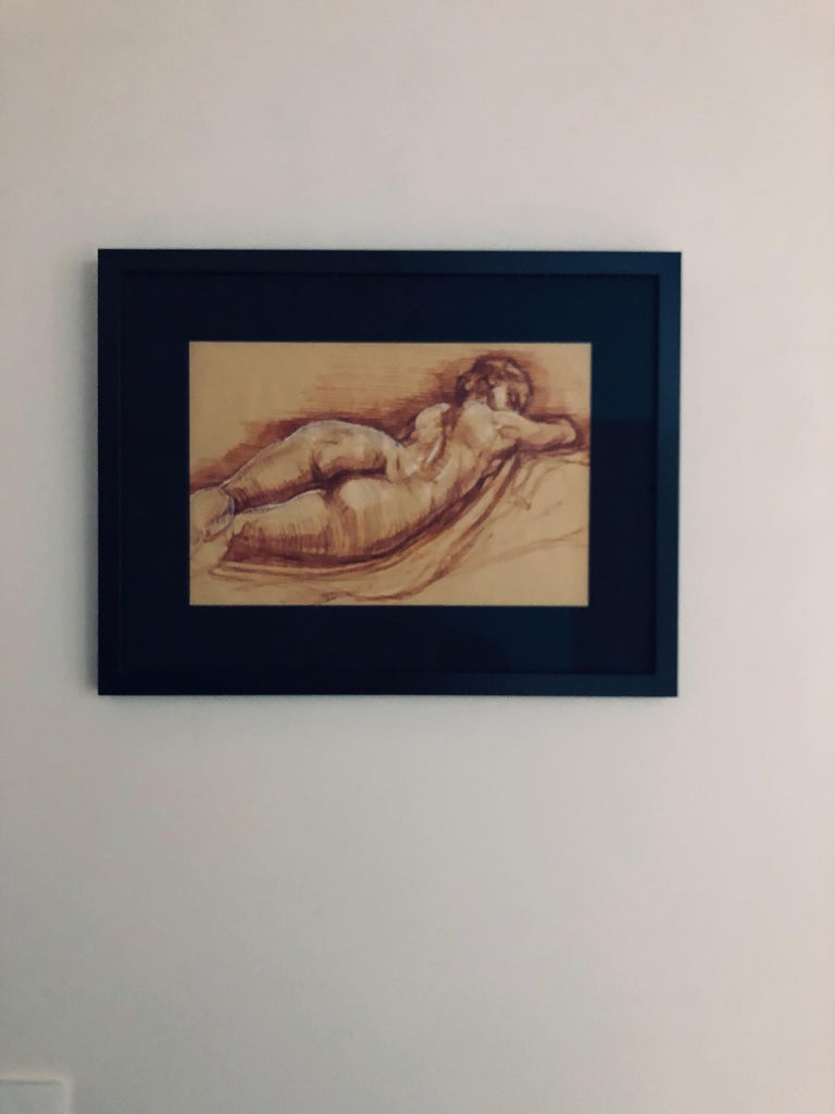 Sleeping Hermaphrodite, Female Nude, Pen Drawing after a Roman Sculpture For Sale 2
