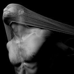Pulled, Male Nude with Shrouded Face, Black and White Photograph, Matted, Framed