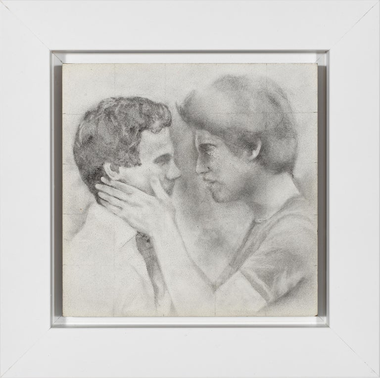 Held - Male Figures Embracing Each Other, Original Graphite on Panel Drawing - Art by Rick Sindt