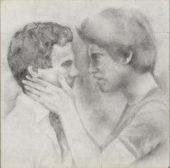 Held - Male Figures Embracing Each Other, Original Graphite on Panel Drawing