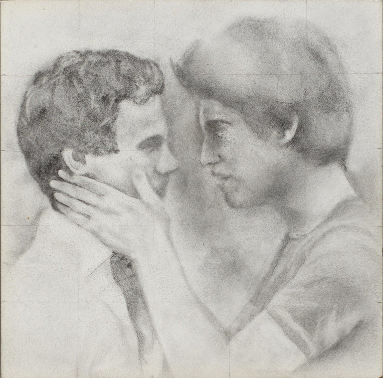 Rick Sindt Figurative Art - Held - Male Figures Embracing Each Other, Original Graphite on Panel Drawing