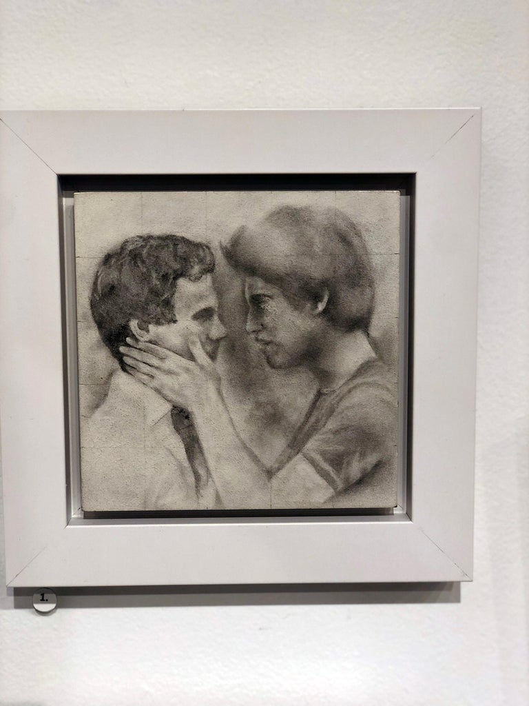 Held - Male Figures Embracing Each Other, Original Graphite on Panel Drawing - Contemporary Art by Rick Sindt