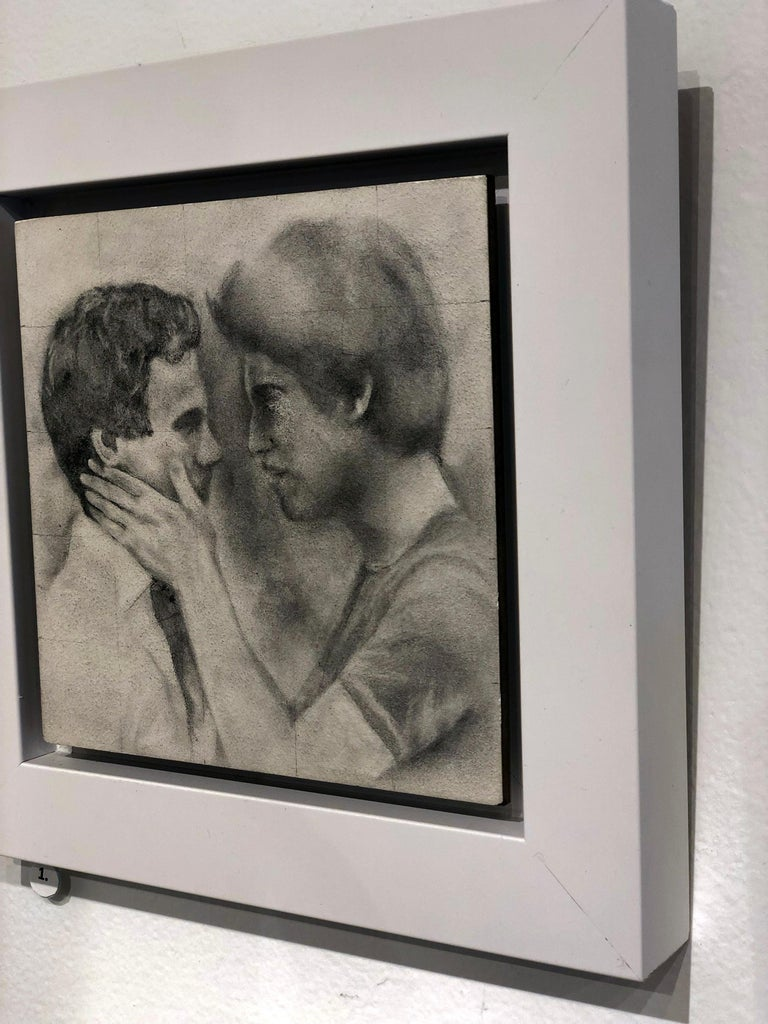 Held - Male Figures Embracing Each Other, Original Graphite on Panel Drawing - Gray Figurative Art by Rick Sindt