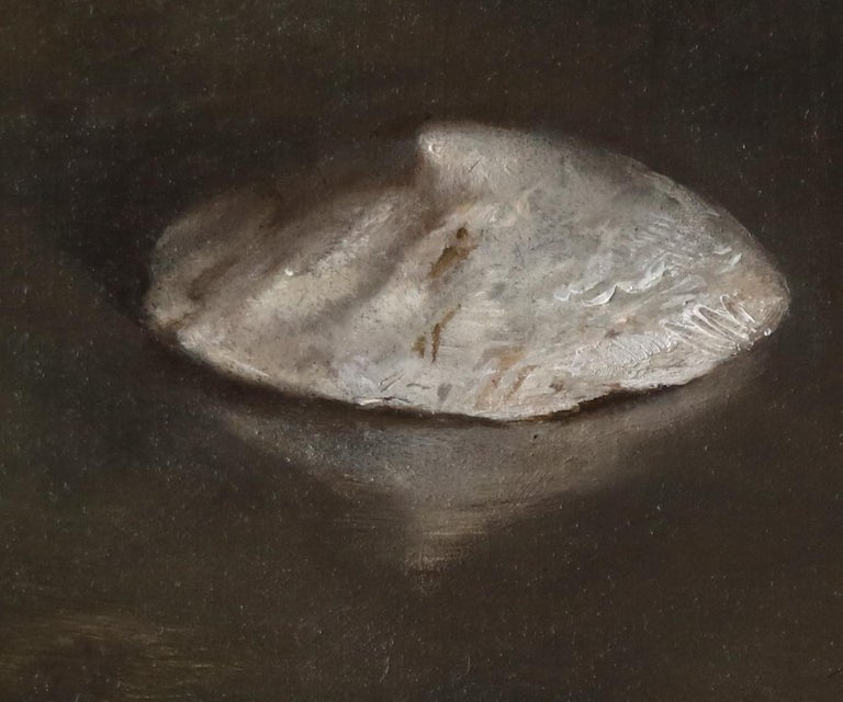 Sea Snail Fossils - Sea Shell Still Life on Two Toned Olive Colored Background - Black Still-Life Painting by Helen Oh