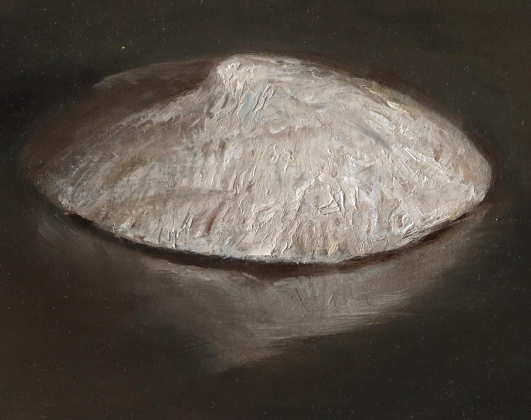 Sea Snail Fossils - Sea Shell Still Life on Two Toned Olive Colored Background - Realist Painting by Helen Oh