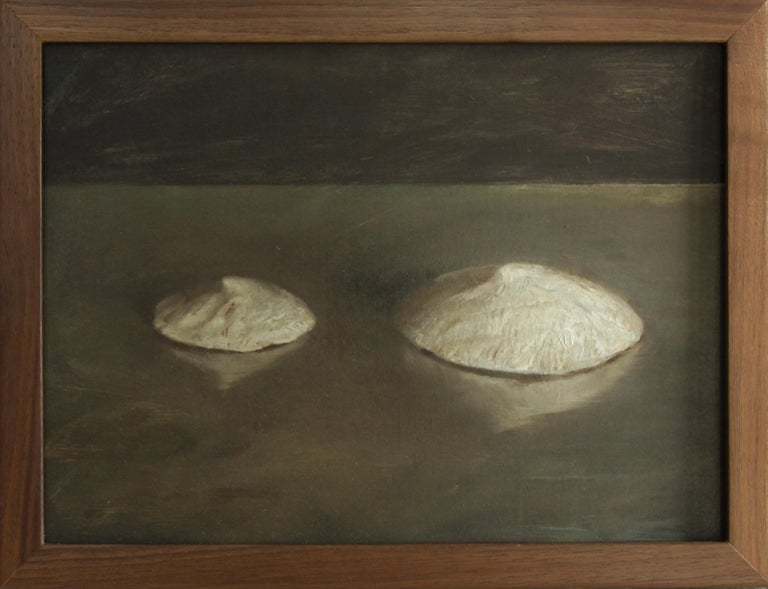 Sea Snail Fossils - Sea Shell Still Life on Two Toned Olive Colored Background - Painting by Helen Oh