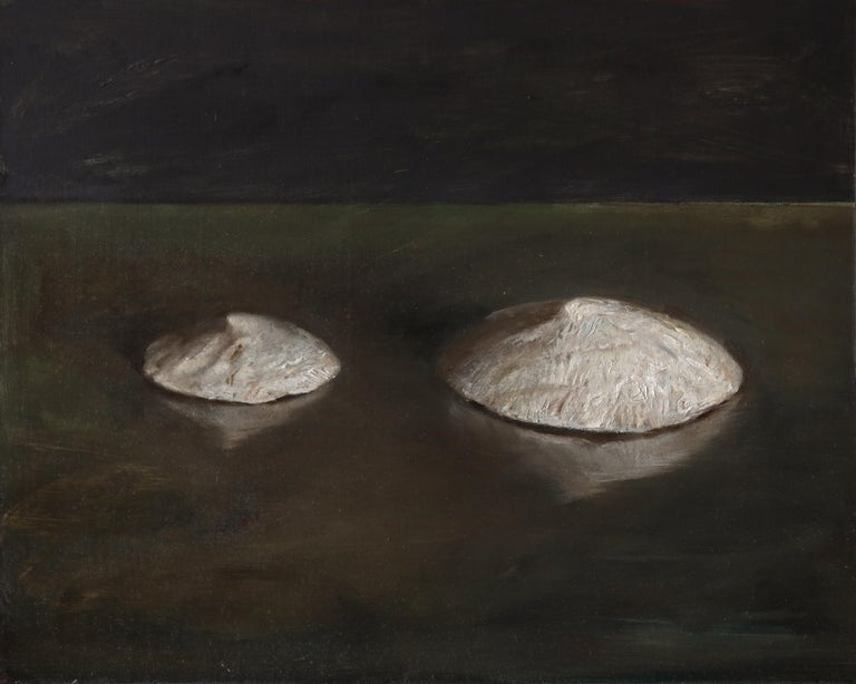 Helen Oh Still-Life Painting - Sea Snail Fossils - Sea Shell Still Life on Two Toned Olive Colored Background