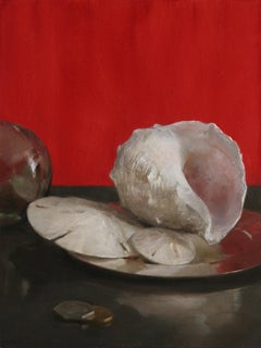Sea Shell Still Life (Red), Original Oil Painting with Shells, Coins and Orb