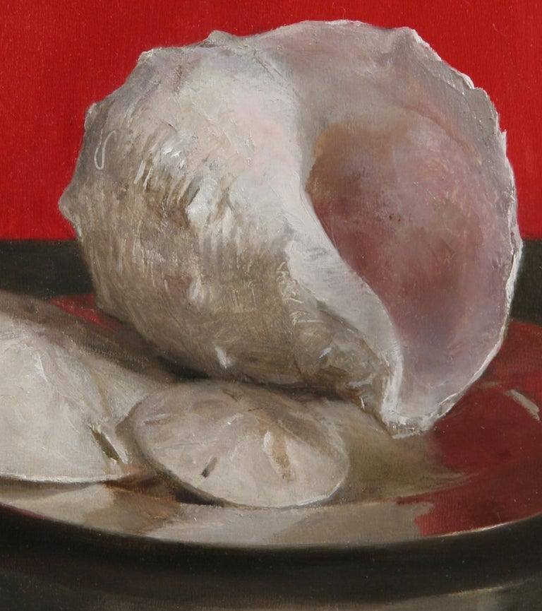 Sea Shell Still Life (Red), Original Oil Painting with Shells, Coins and Orb For Sale 1