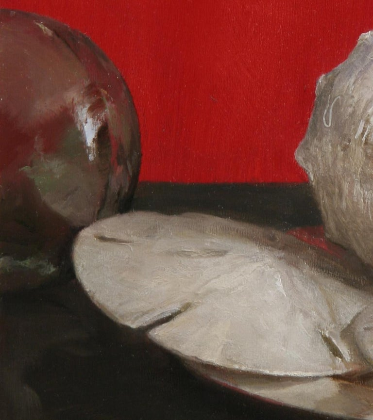 Sea Shell Still Life (Red), Original Oil Painting with Shells, Coins and Orb For Sale 2